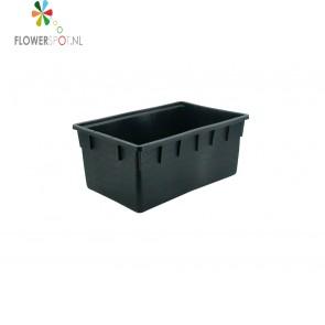 Vat 65 ltr. rechthoekig zwart     lxbxh 55x50x32 cm.